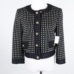 NEW Milly Black/Gold Boucle Snap Button Jacket 4